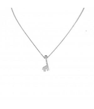 """Stalowy naszyjnik z zawiekszką """"Żyrafa"""" w kolorze srebrnym"""