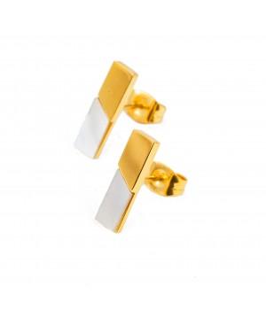 Stalowe kolczyki w złotym...